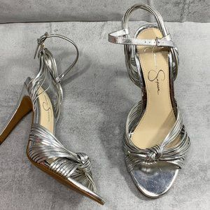 Jessica Simpson Silver Strappy Knotted Vamp Detail